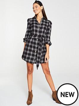 v-by-very-tie-waist-checked-dress-check