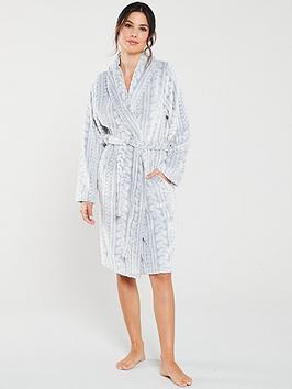 V by Very V By Very Shawl Frosted And Carved Cable Robe - Charcoal Picture