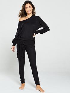 v-by-very-tie-hem-knit-look-lounge-co-ord-jumper-black