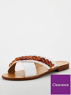 v-by-very-hare-leather-tort-chain-cross-strap-sliders-white