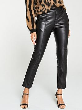 V by Very V By Very Faux Leather Slim Cigarette Trousers - Black Picture
