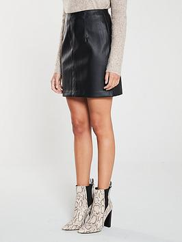 V by Very V By Very Faux Leather Mini Skirt - Black Picture