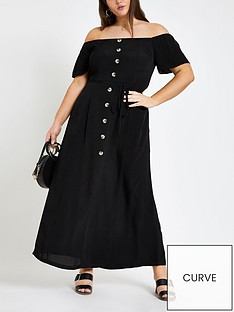 ri-plus-ri-plus-bardot-button-through-maxi-dress--black