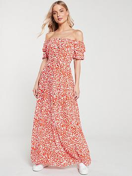 river-island-river-island-bardot-button-through-maxi-dress--red-print