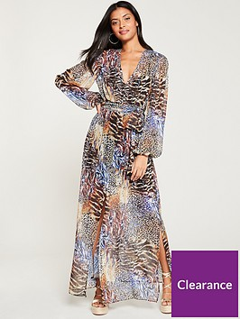 river-island-river-island-printed-long-sleeve-maxi-dress--black