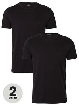 Emporio Armani Bodywear   Two Pack Cotton Regular Fit T-Shirts - Black