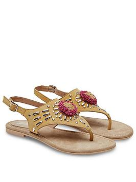 Joe Browns Joe Browns Suede Studded Sandals - Yellow/Multi Picture