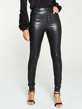V by Very V By Very Faux Leather Button Front Trousers - Black Picture