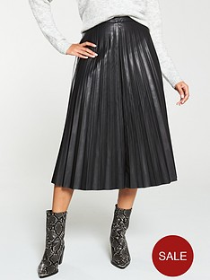 v-by-very-faux-leather-pleatednbspmidi-skirt-black