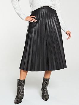 V by Very V By Very Faux Leather Pleated Midi Skirt - Black Picture