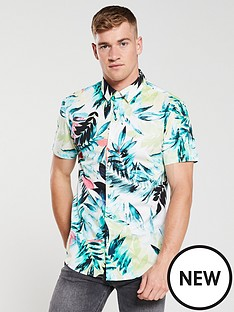a00242bc3822 V by Very Palm Hawaiian Cuban Shirt - Multiple Colours