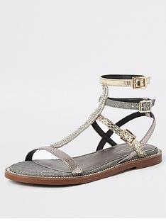 faa4da5de1 River Island River Island Shimmer Gladiator Sandals - Silver