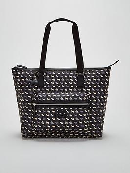 radley-multi-dog-oilskin-large-zip-top-tote-shoulder-bag-black