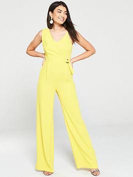 Mango Mango Wide Leg Wrap Jumpsuit - Yellow Picture