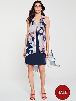wallis-vivid-bloom-split-front-dress-ink