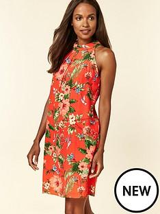 e16386074426 Wallis Wallis Petite Floral Bird Halter Neck Dress