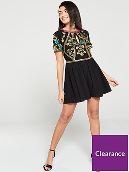 frock-and-frill-giorgetta-embellished-short-sleeve-playsuit-black