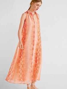 mango-mango-snake-print-frill-hem-sleeveless-dress