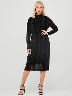 yas-diane-high-neck-midi-dress-black