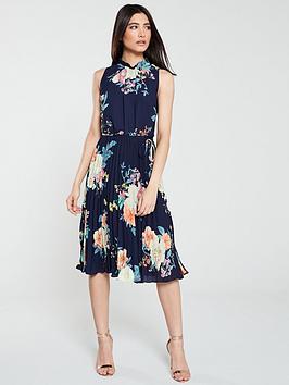 oasis-botanical-chiffon-pleated-midi-dress-navy