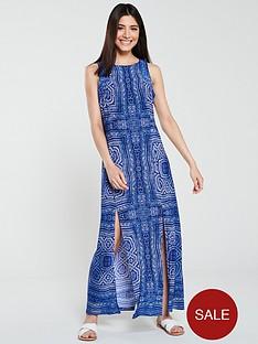 wallis-aztec-split-maxi-dress-blue