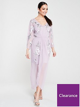 frock-and-frill-gracie-embellished-three-quarter-sleeve-midaxi-dress-lilac