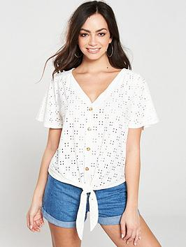 oasis-broderie-button-through-tie-front-top-off-white
