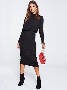 yas-blaxnbsplace-detail-ribbed-dress-black