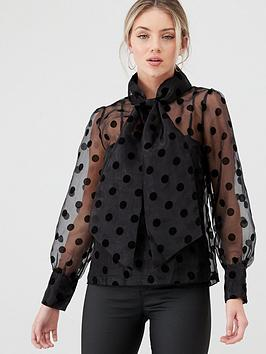 Y.A.S Y.A.S Olivia Polka Dot Sheer Blouse - Black Picture