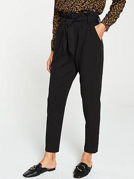V by Very V By Very Paper Bag Tie Waist Trouser - Black Picture