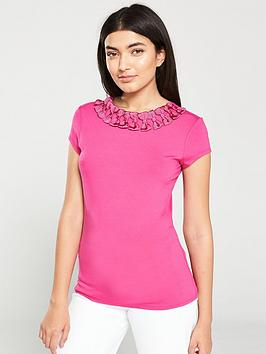 ted-baker-charre-bow-neck-trim-detail-tee-bright-pink