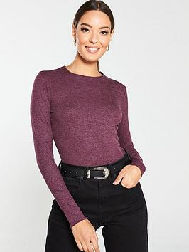 V by Very V By Very Lurex Lettuce Hem Top - Berry Picture