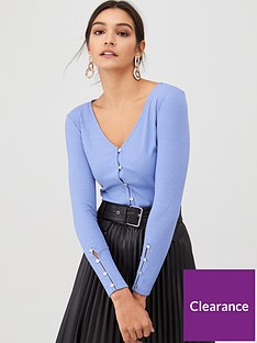 v-by-very-button-through-v-neck-ribbed-top-blue
