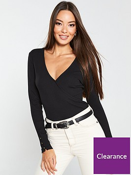 v-by-very-ribbed-wrap-button-detail-top-black