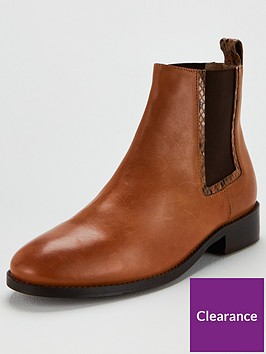 office-acorn-contrast-elastic-ankle-boots-tan