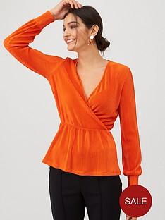 v-by-very-plisse-wrap-top-orange