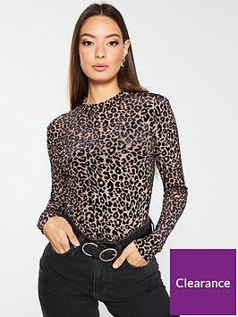 v-by-very-leopard-mesh-top-brown
