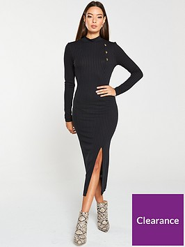 v-by-very-ribbed-high-neck-mock-horn-button-midi-dress-black