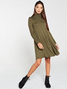 v-by-very-roll-neck-fit-amp-flare-dress-olive