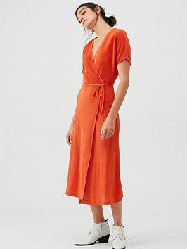 v-by-very-plisse-midi-dress-rust