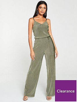 v-by-very-velvet-plisse-jumpsuit-khaki