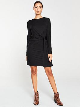 v-by-very-twisted-jersey-mini-dress-black