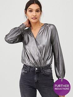 v-by-very-wrapover-jersey-bodysuit-silver