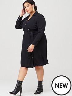 v-by-very-curve-button-detail-shirt-dress-black