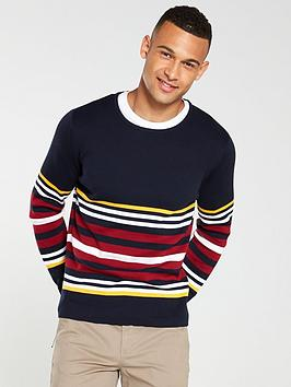 selected-homme-cohen-multi-stripe-crew-neck-jumper-navy