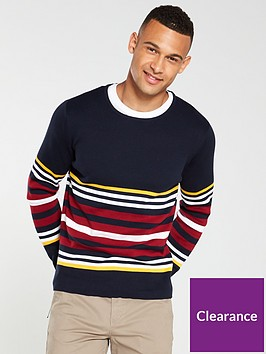 selected-homme-cohen-multi-stripe-crew-neck-jumper-navy
