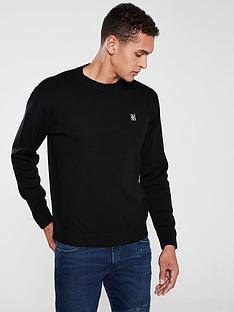 armani-exchange-knitted-crew-neck-jumper-black