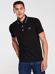 armani-exchange-jersey-tipped-polo-shirt-black