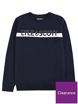 lyle-scott-boys-block-logo-crew-neck-sweat-navy