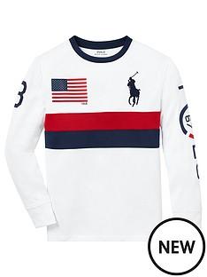 7bddb03f Ralph Lauren Boys Long Sleeve Big Pony Colourblock T-Shirt - White